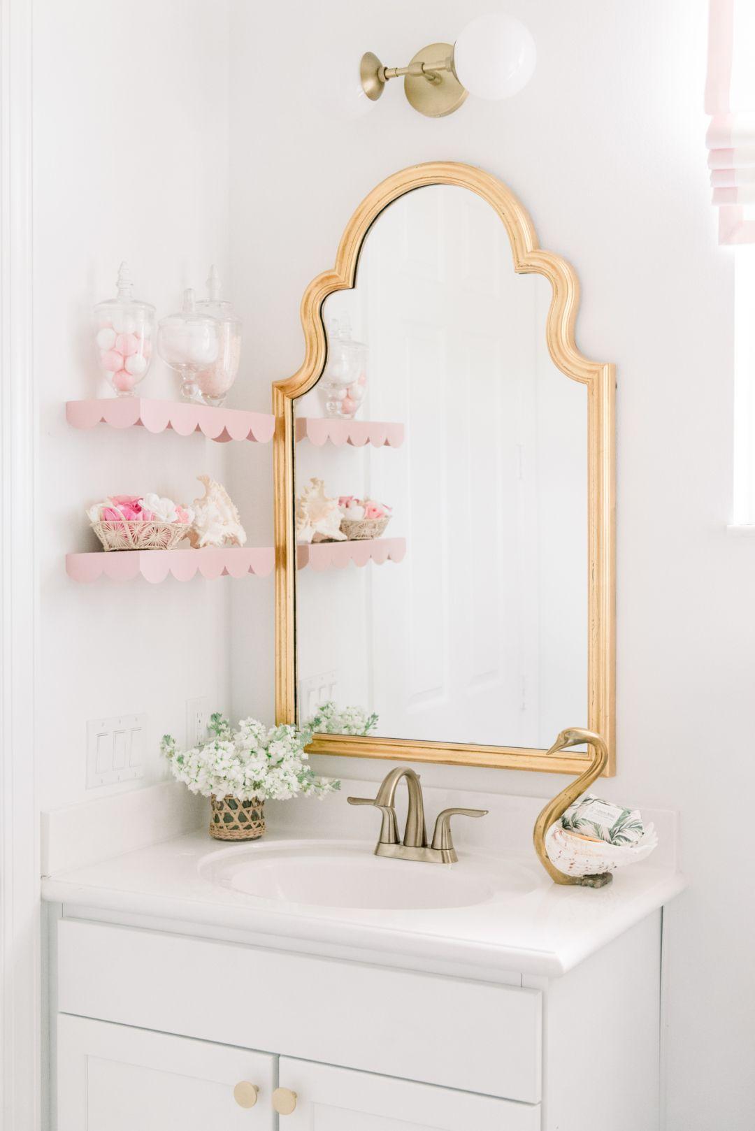 Home Blush And Brass Bathroom Gold Bathroom Decor Girls