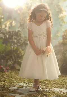 V Neck Organza A line Tea Length Flower Girl Dress - 1300106421B - US$99.99 - BellasDress