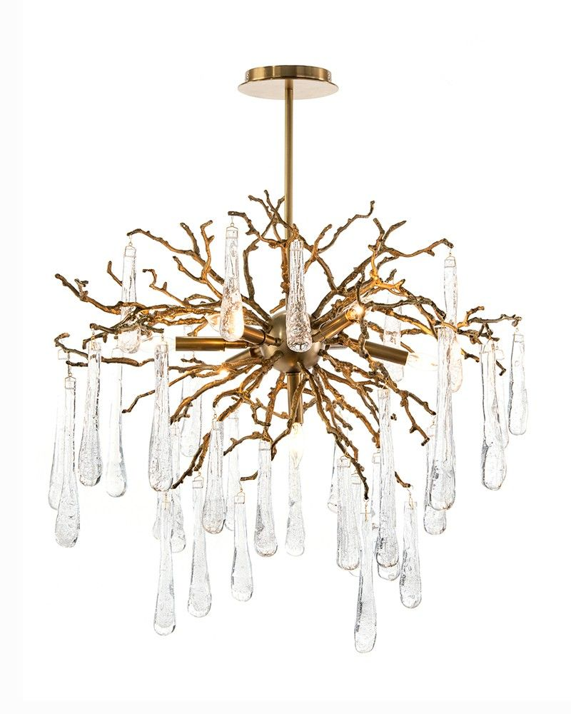 Seven Light Branch and Glass Tear Drop Chandelier - Chandeliers - Fixed Lighting - Lighting - Our Products