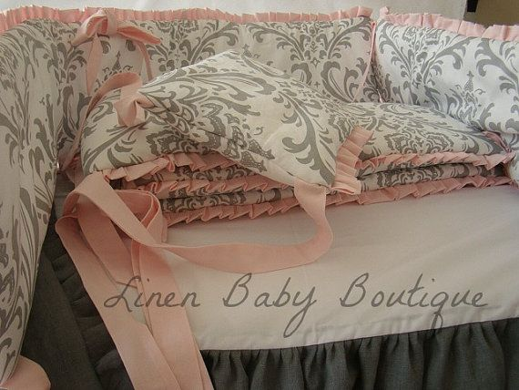 Pink and Grey Linen 2 Piece Baby Crib Bedding by LinenBaby on Etsy, $305.00