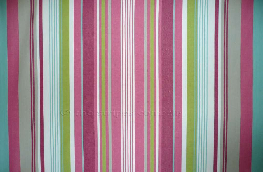 Pink Green Blue Striped Fabrics Stripe Cotton Curtain Upholstery