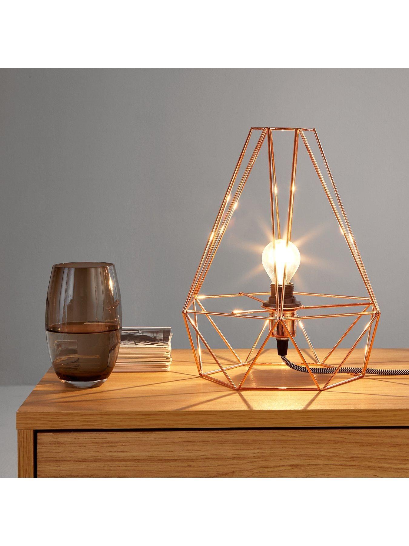 Harlow copper diamond table lamp geometric designs diamond and bulbs harlow copper diamond table lamp greentooth Choice Image