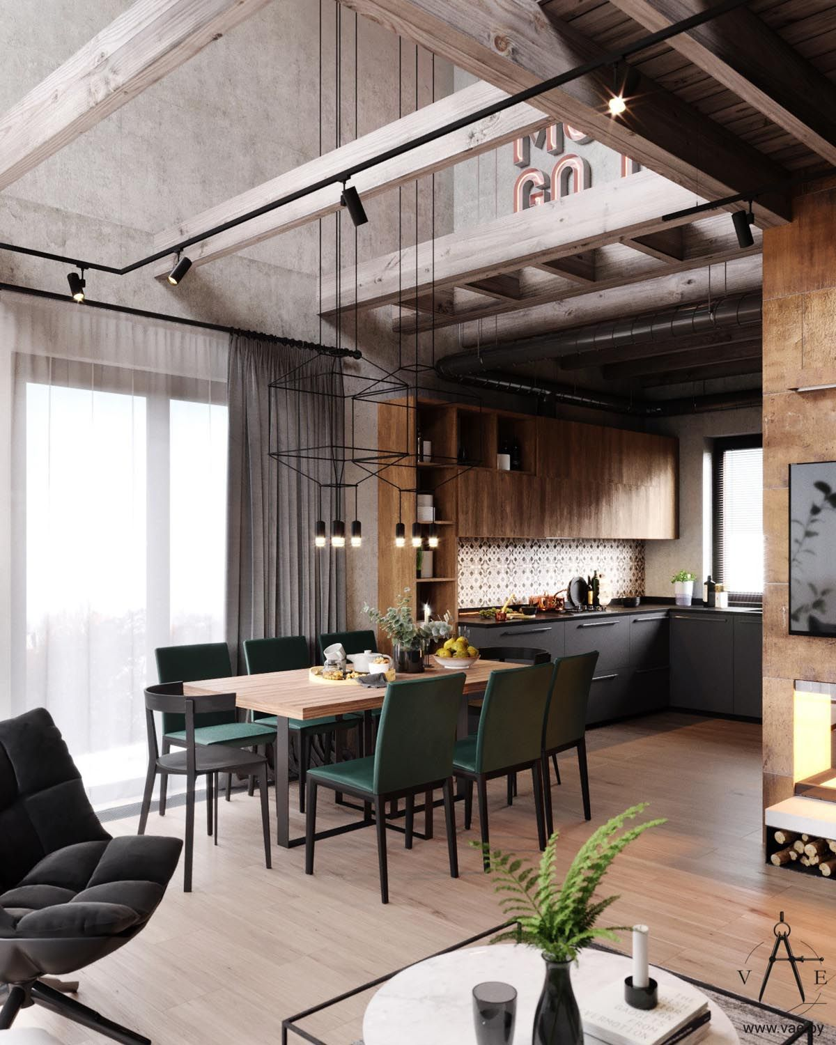 Warm Industrial Style House With Layout Industrial Home Design