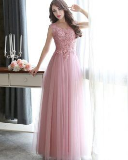 7c8d1ab12efc2 Prom Dresses Long Lace Applique Beaded Tulle Floor Length Backless Formal  Party Dress
