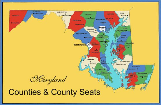 Maryland Counties Map Counties County Seats County Seat Maryland County Map