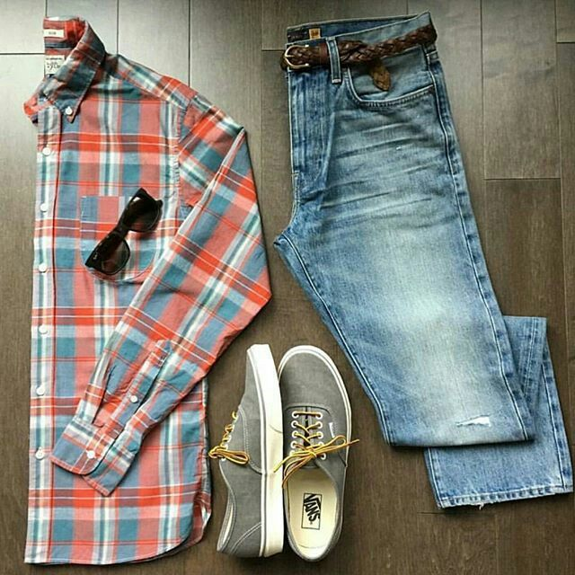 Outfit grid , Checked shirt \u0026 jeans