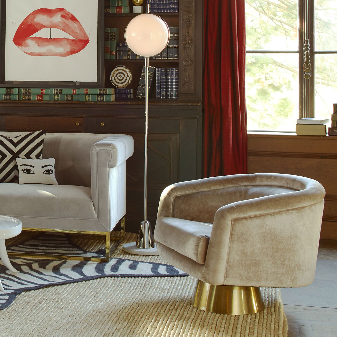 Bacharach Swivel Chair By Jonathan Adler. Pearl Velvet And Polished Brass  Base.