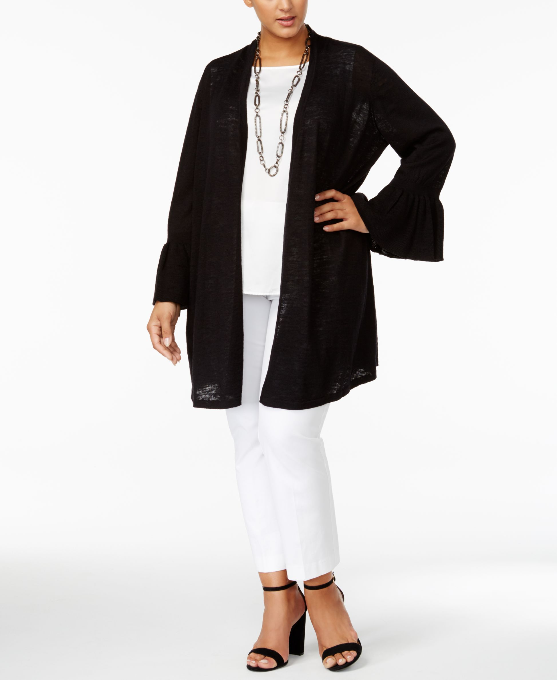 Alfani Plus Size Linen-Cotton Duster Cardigan, Only at Macy's ...