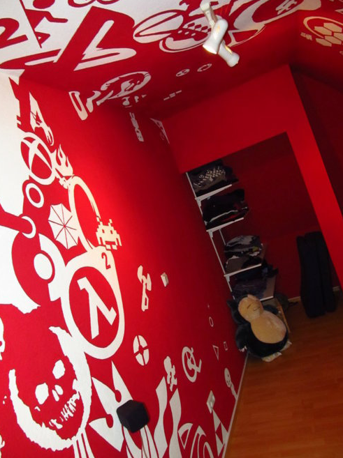Guy Paints His Room Red With Video Game Logos...I see