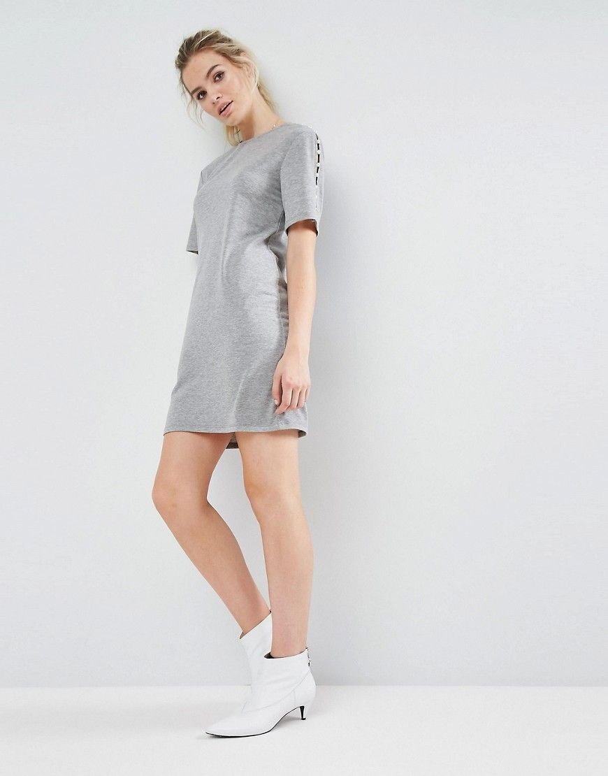 5dc9eec3d89 ASOS Sweat Dress With Pearl Shoulder Detail - Gray
