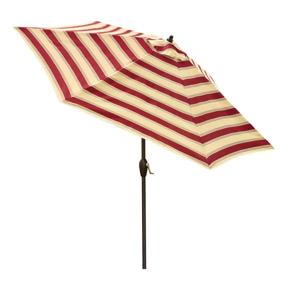 Hampton Bay 9 Ft. Aluminum Market Patio Umbrella In Chadlark Stripe