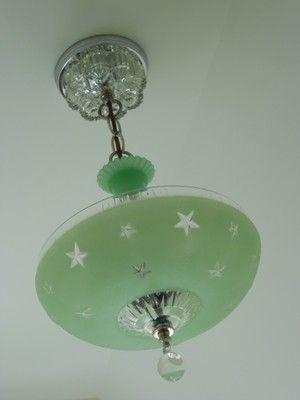 C 30s Art Deco Ceiling Light Fixture Chandelier Jadeite Antique