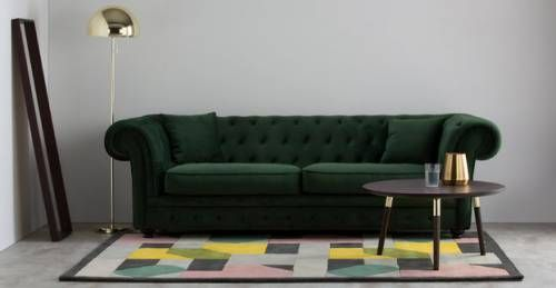 Edler Chesterfield-Stil für dein Wohnzimmer Branagh 3-Sitzer Sofa - Wohnzimmer Design Grun