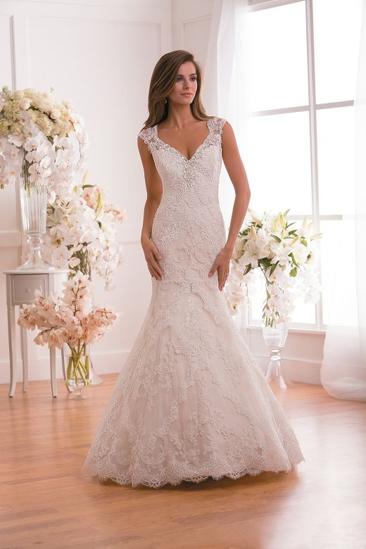 F171013 By Jasmine Collection Is A Trumpet Silhouette Lace Wedding Gown With A Beaded V Neckline Jasmine Wedding Dress Wedding Dresses Bridal Wedding Dresses