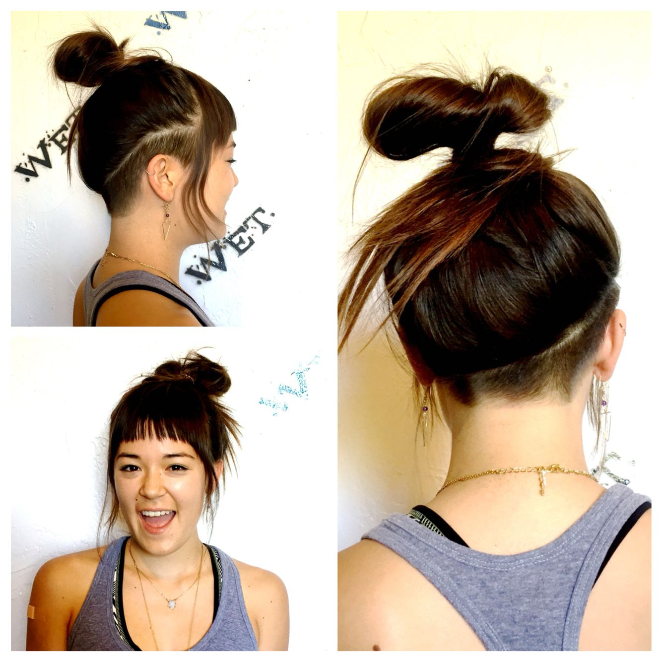 Super Fun Undercut And Textured Bangs For Samantha Love The Asymmetry And She Can Still Hide It No Problem Undercut Long Hair Stacked Hair Thick Hair Styles