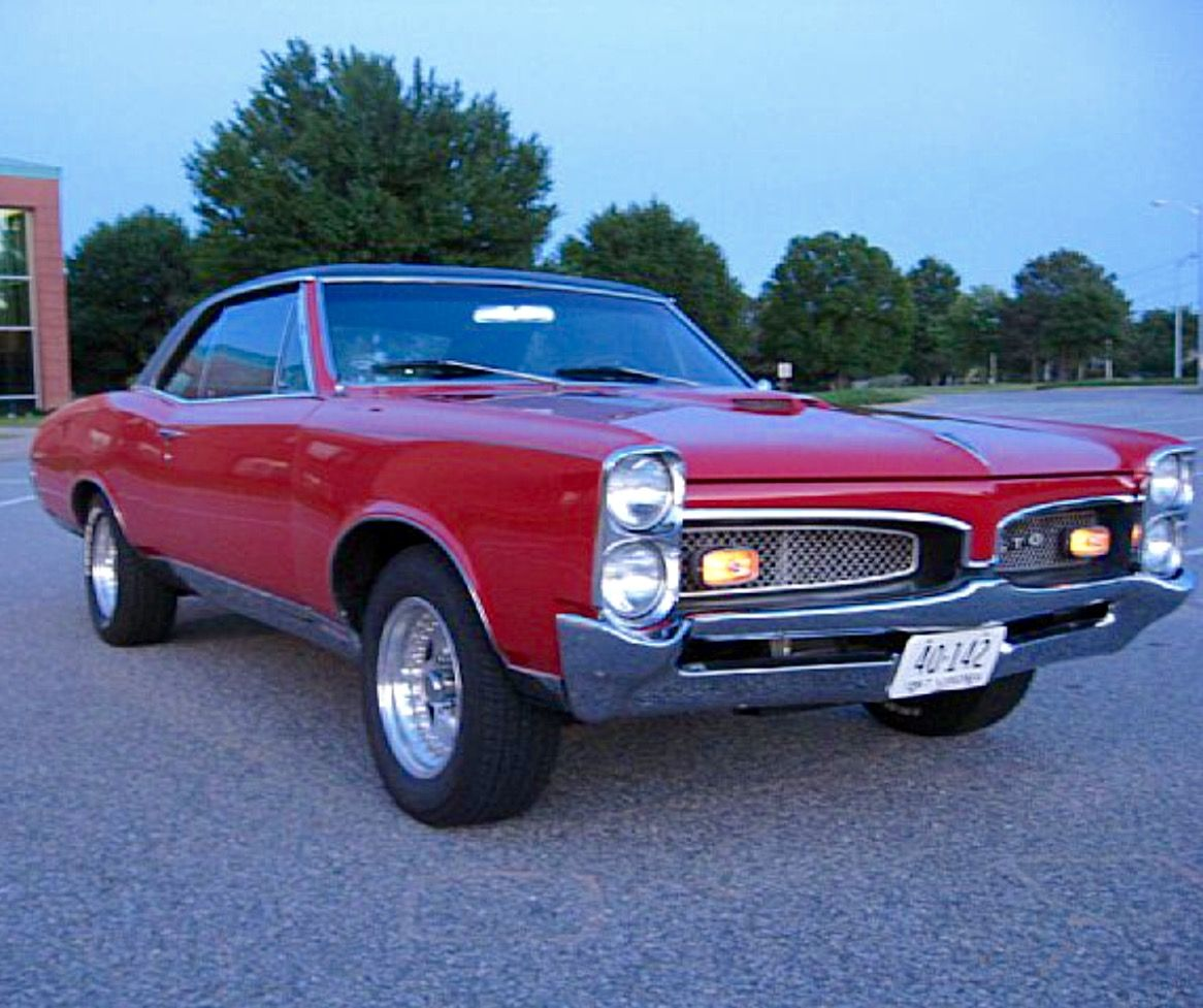 1967 Pontiac Gto 2 Dr Hardtop Montero Red With Black Vinyl Top Identical To My High School Muscle Cars Mustang Classic Cars Muscle Hot Rods Cars Muscle