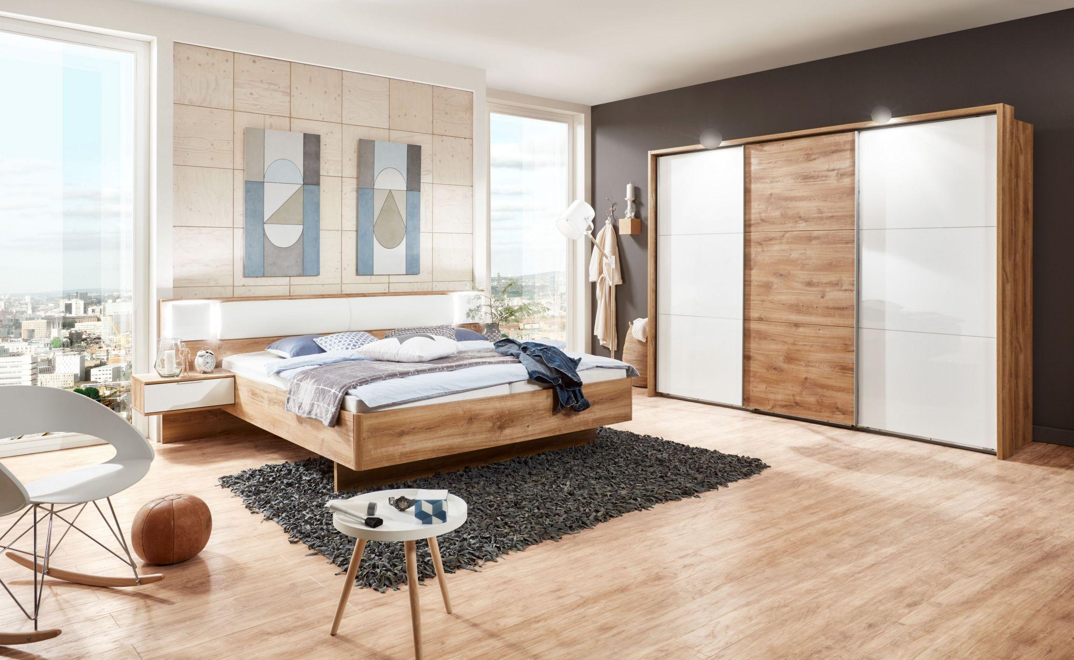 Schlafzimmer 3 Tlg Plankeneiche Weiss Hochglanz Lack Wimex Arhus