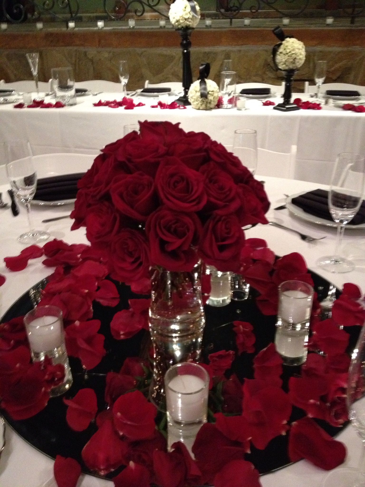 Red Quinceanera Centerpieces : Glamorous red rose centerpiece low centerpieces