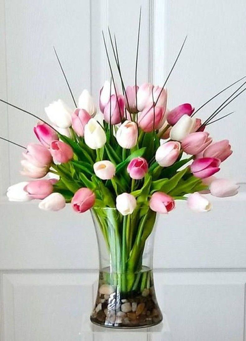 Tj Funeral Tulips Arrangement Flower Vase Arrangements Tulips In Vase