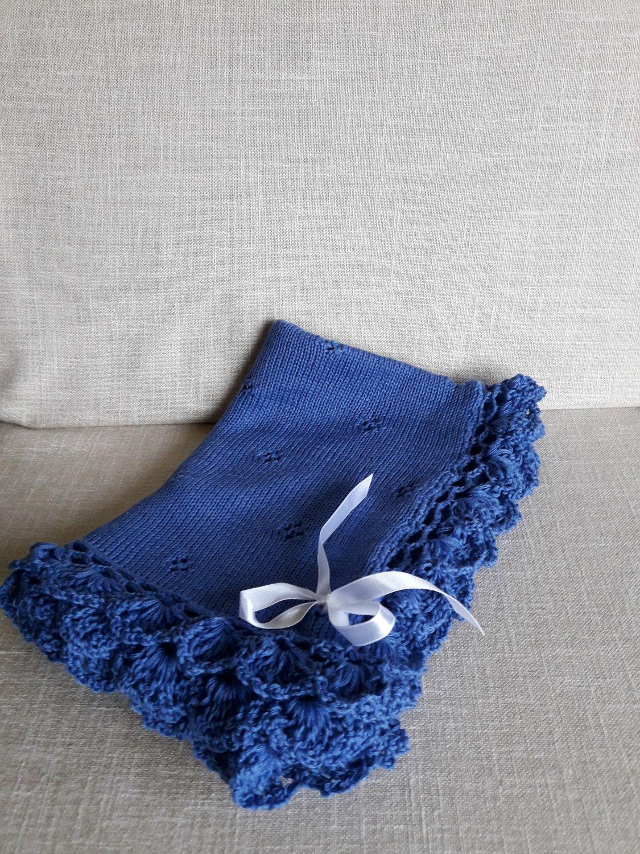 Hand Knit Baby Blanket, Merino Wool Baby Blankets, Knitted Newborn ...