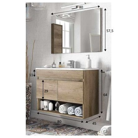 Photo of Mobile bagno Cosmo 80 cm rovere lavabo in ceramica specchio incluso