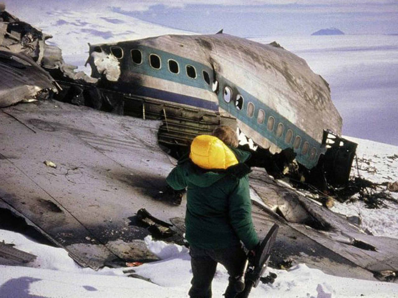 The wreckage of Air New Zealand Flight 901 on the flank of