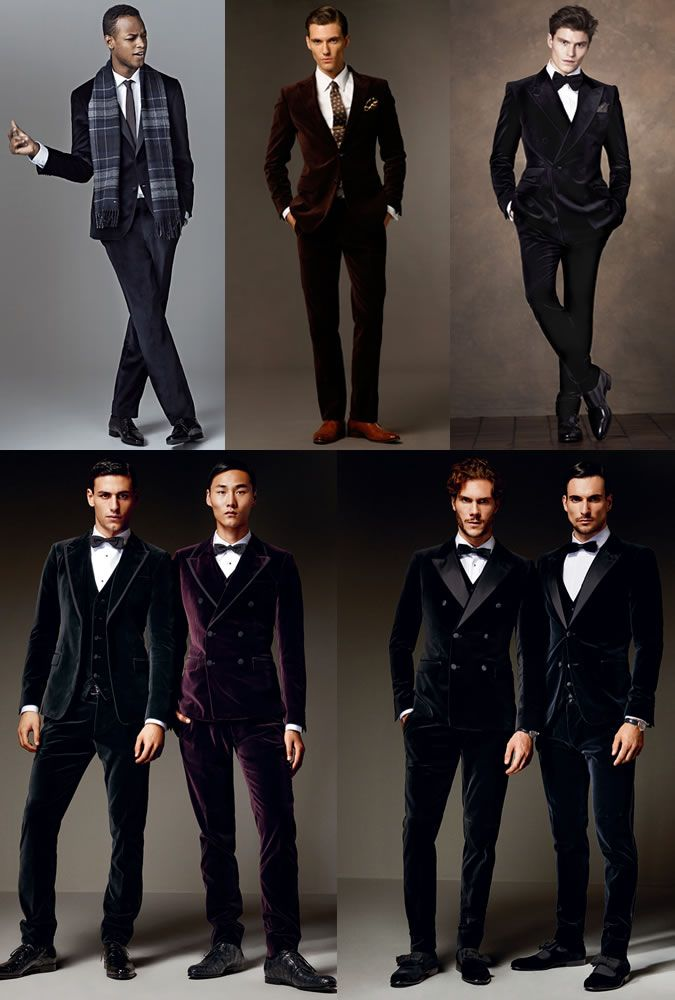 Men's Velvet Suits Outfit Inspiration Lookbook