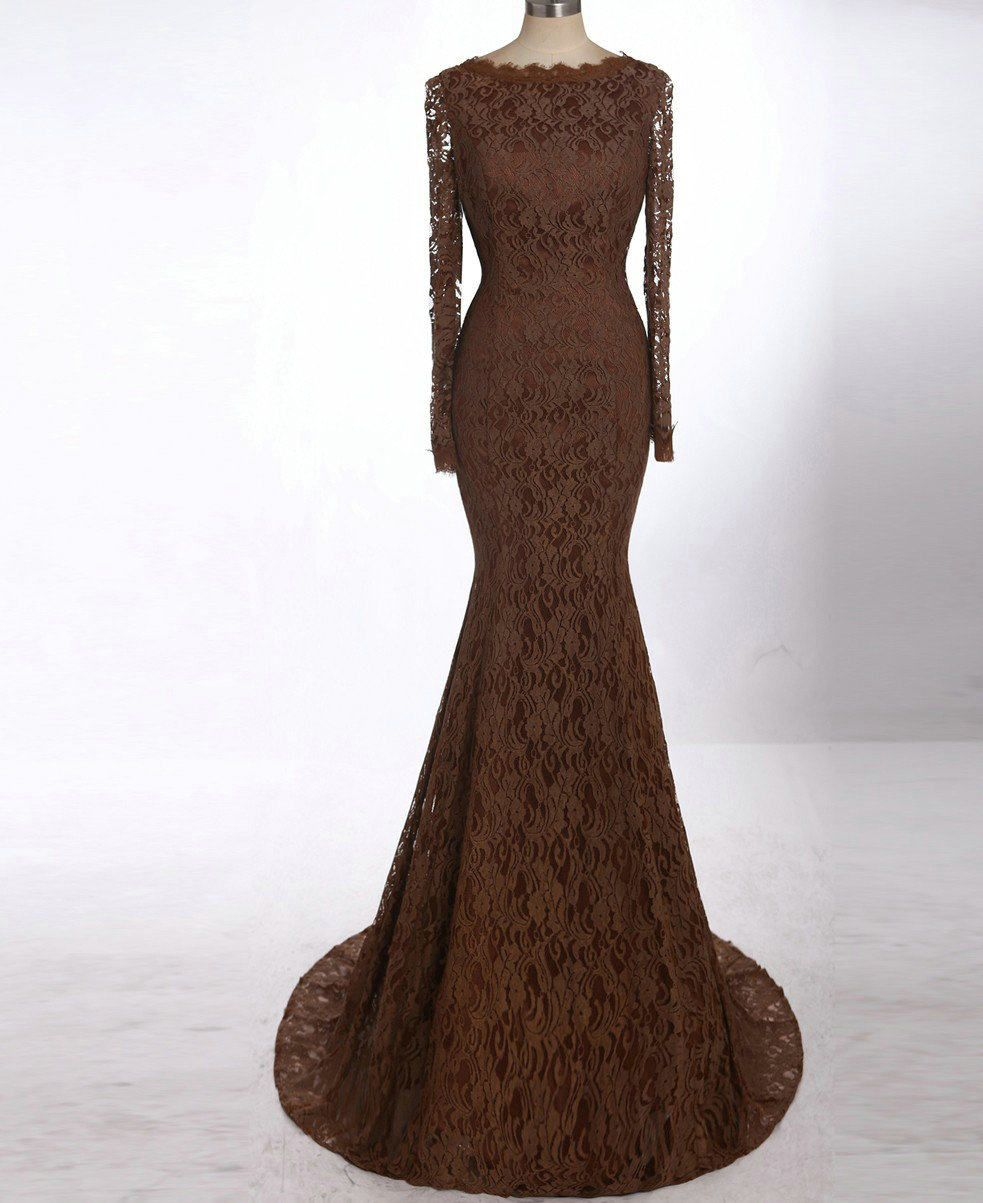Chocolate brown long sleeve lace evening gown darius designs