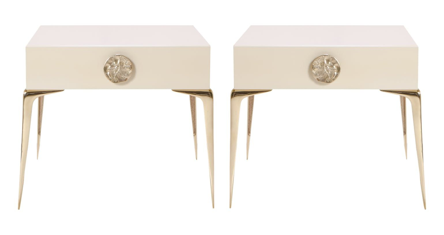 Colette Petite Brass Nightstands In Ivory Lacquer Contemporary