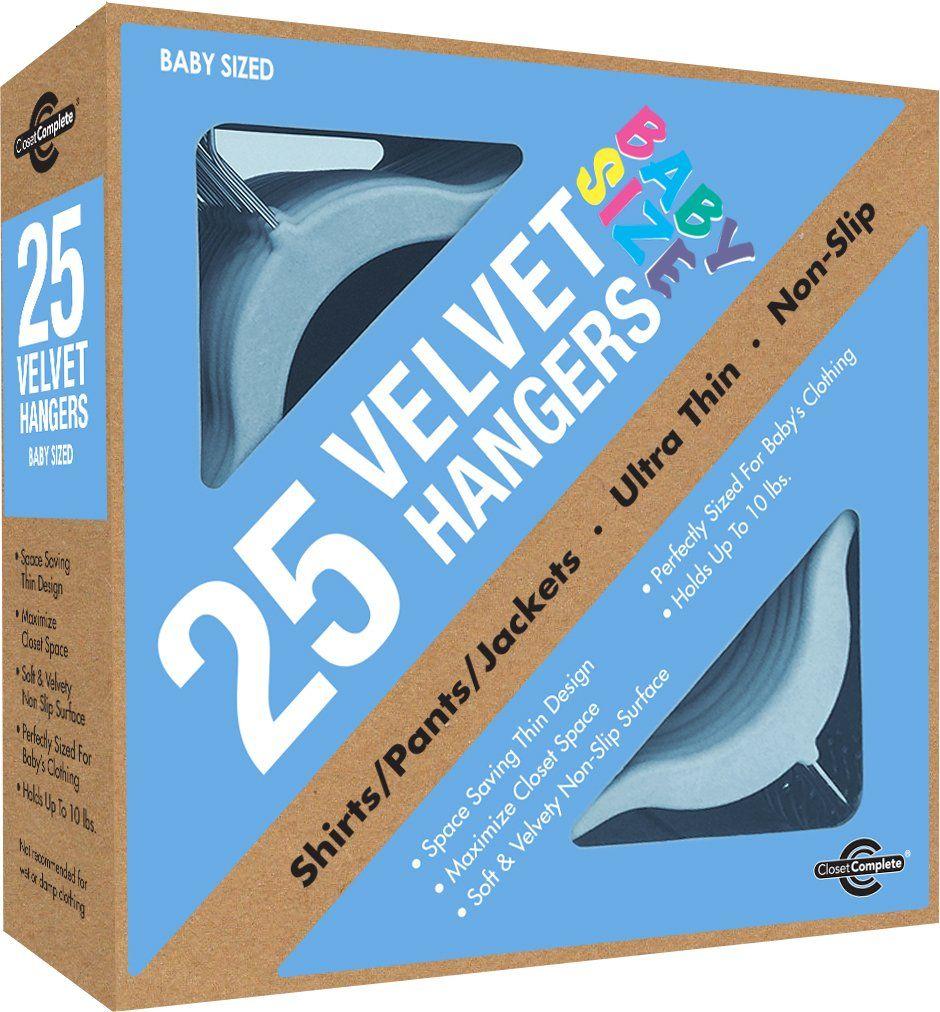 Closet Complete Baby Size Ultra Thin No Slip Velvet Hangers, Baby Powder  Blue, Set