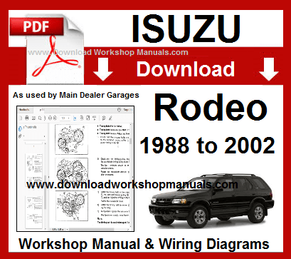 Isuzu Rodeo 1998 To 2002 Workshop Manual Download Repair Manuals Workshop Manual
