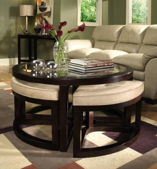 Textile Ottoman Table Coffee Table With Seating Living Room