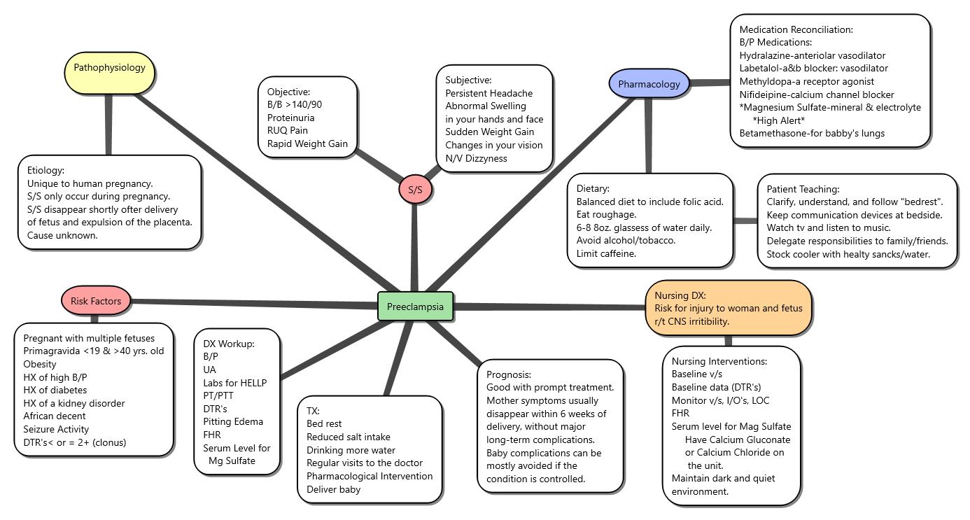 Mineral Concept Map.Preeclampsia Concept Map Nursing Concept Maps Hellp Syndrome
