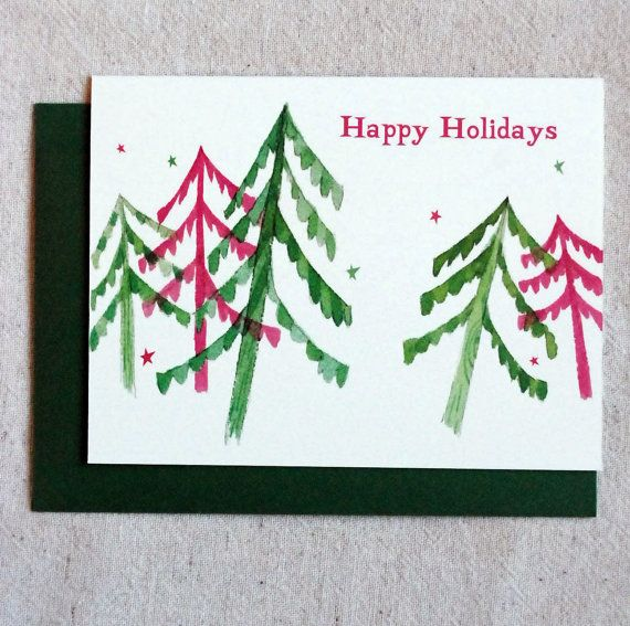 Trees happy holiday card non religious holiday card