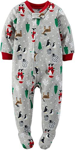 100% polyester microfleece Imported Machine washable Carter's Baby Boys' 1-Piece Fleece Christmas PJs (12 Months, Grey)