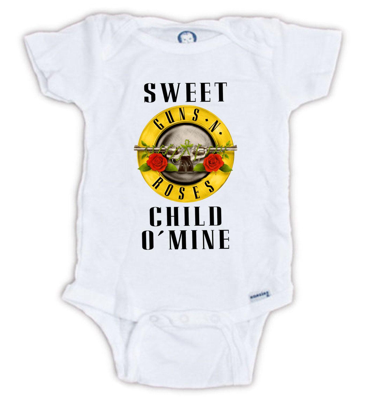 1fbb6b876547 Guns N' Roses Baby Onesie, Guns N' Roses Sweet Child O'Mine Onesie, Guns N'…