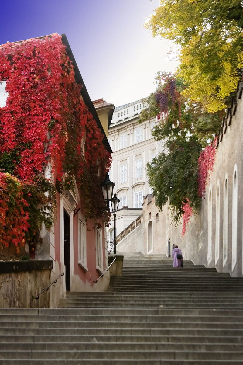 Old Castle Stairs in the autumn, Prague, Czechia