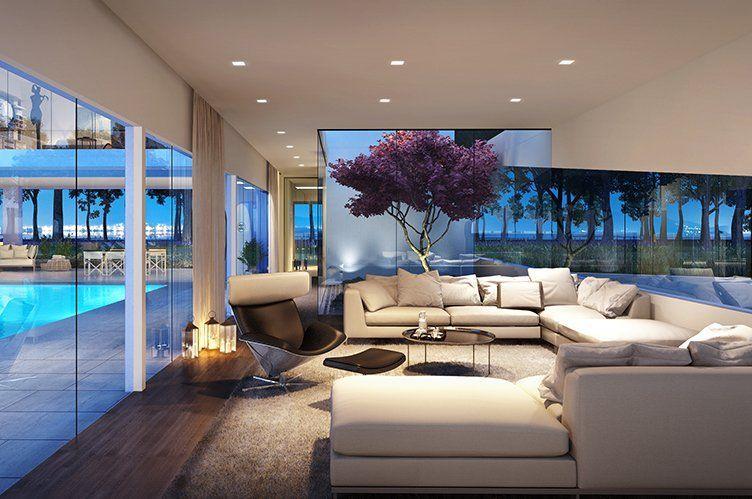 Modern Living Room With High Ceiling Carpet Hardwood Floors Adorable Luxury Modern Living Room Design Decorating Design