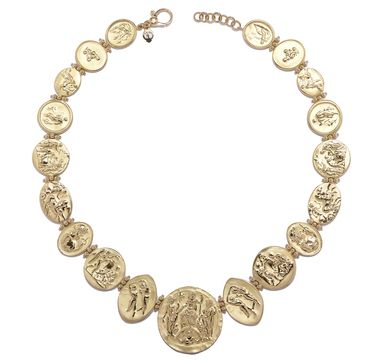 Roman Coin Necklace Greek Historical Jewellery Adult Fancy Dress Accessory