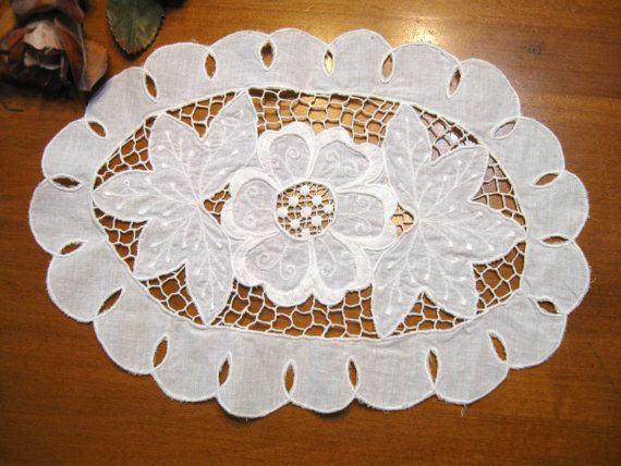 Oval Doily White Needle Lace Cutwork Cottage by NormasTreasures