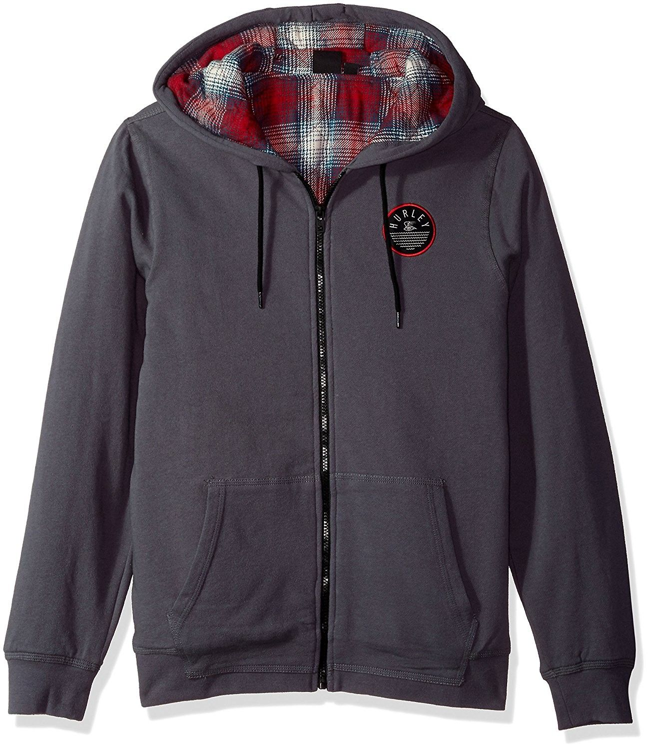 Mens hooded flannel jacket  Menus Flannel Lined Zip up Two Layer Hoodie with Patch Detail  Dark