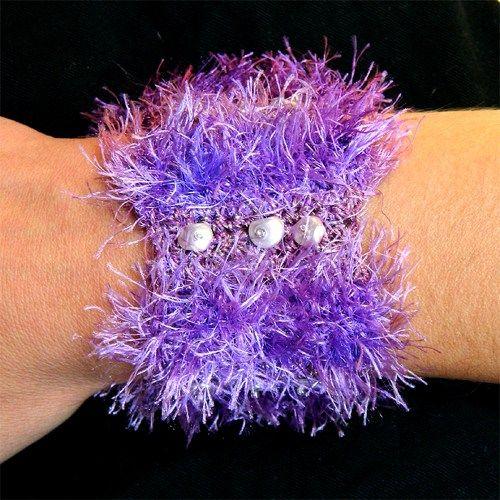 Shiny purple knitted bracelet with pearl beads | Art-way - Jewelry on ArtFire