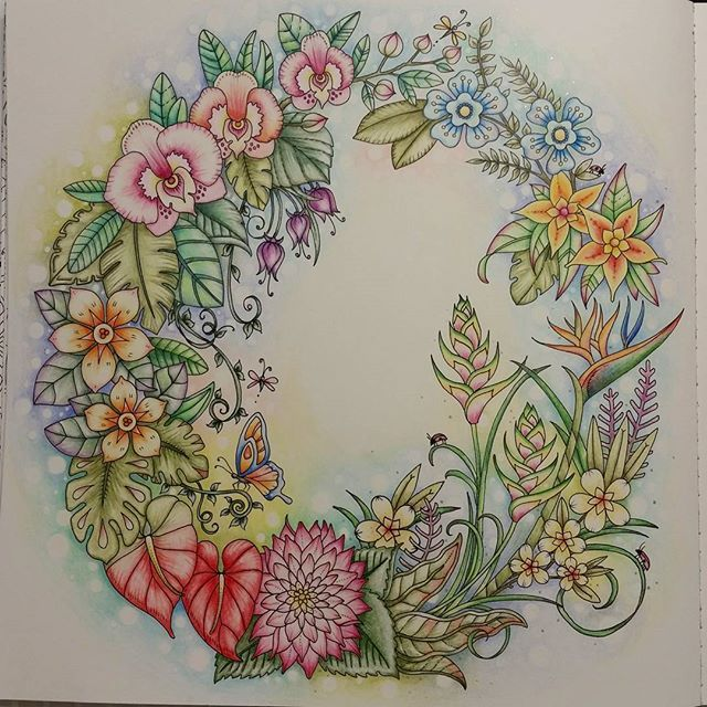 WEBSTA @ coloringwithsavvy - After adding some extra flowers and looking  at several inspiring  versions of this page, here is what I came up with. #magicaljunglecoloringbook , #adultcoloringbooks,  #coloring