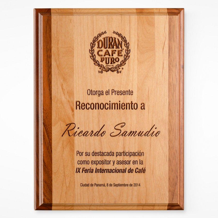 Placa de reconocimiento madera genuina grabado laser - Placa de madera ...