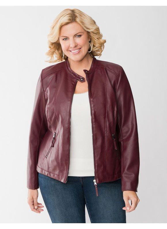 c6b76e01630 Lane Bryant Plus Size Cinched back faux leather jacket - - Women s Size 22  24