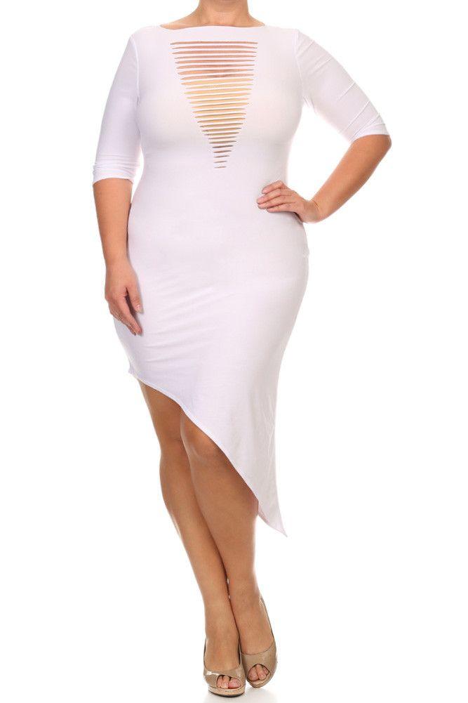 72f1dbf9d265 Plus Size Cut Out Front Asymmetrical Dress | Plus Size Club Wear