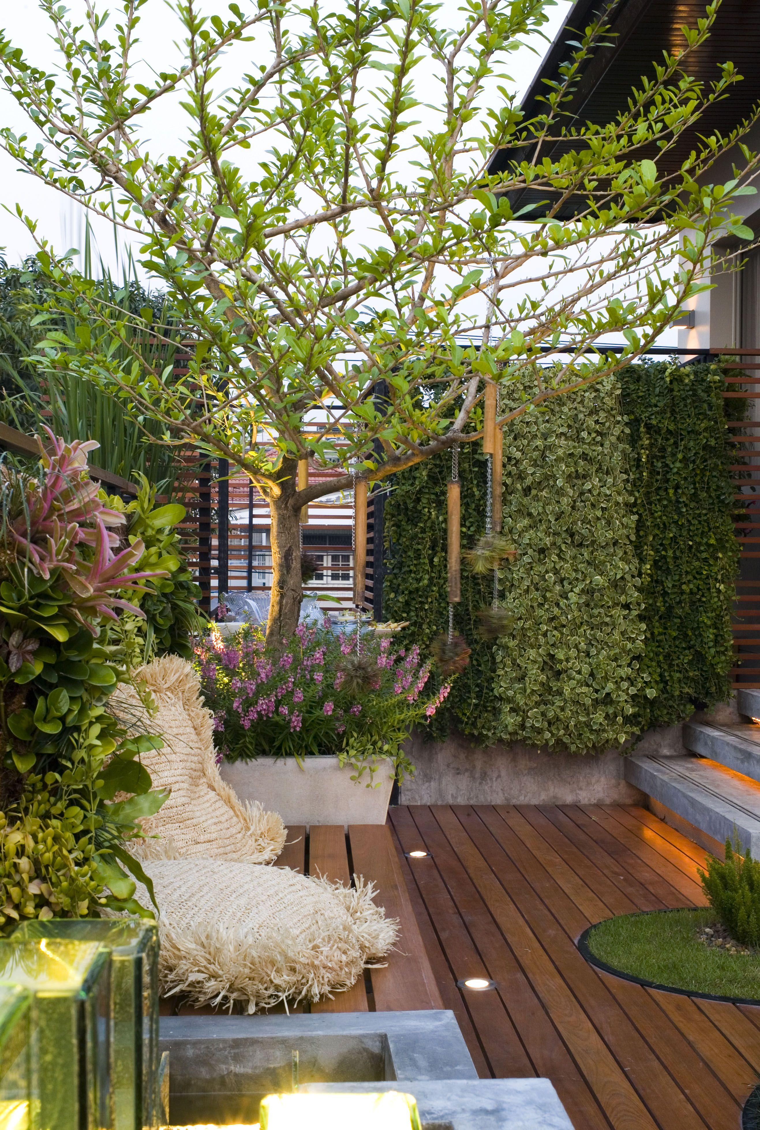 Ging Fixed Bench On Roof Deck แบบสวน สนามหญ า การออกแบบสวน
