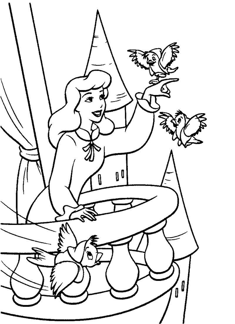 cinderella and bird coloring page cinderella pinterest