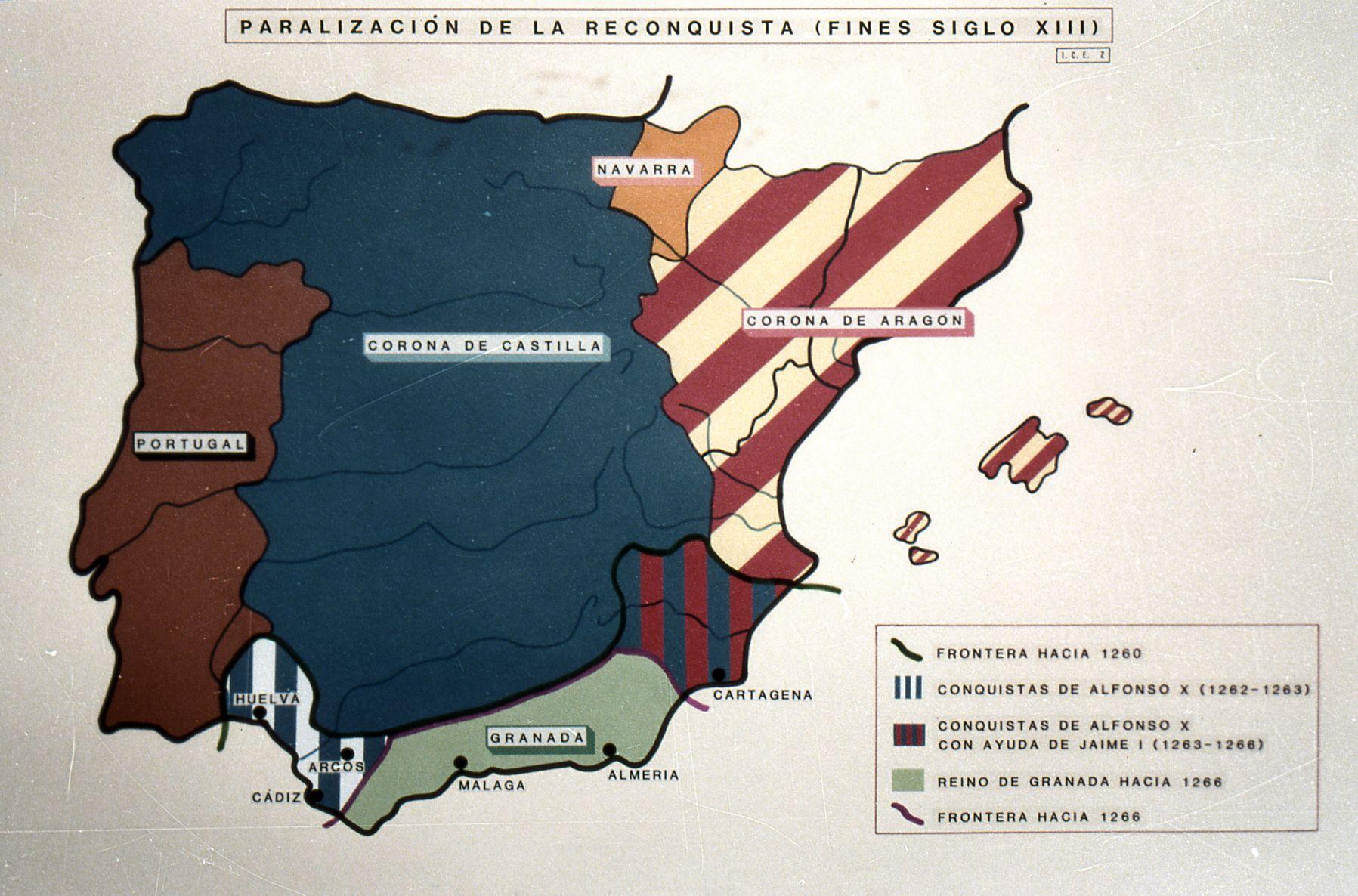 Mapa Político De La Península Ibérica En El Siglo Xiii 2 Corona De Aragon Almería Cádiz