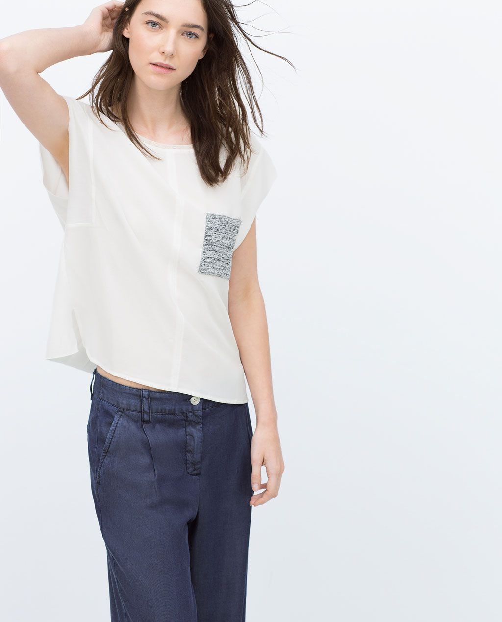 23149a06 T-SHIRT WITH CONTRASTING POCKET-View all-T-shirts-WOMAN-SALE | ZARA United  States Fun twist on a plain white tee!